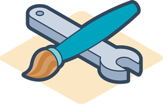 Paintbrush and wrench